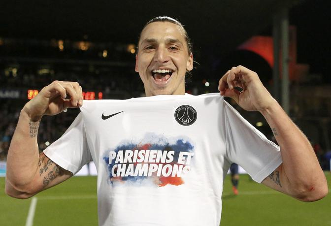 Paris Saint-Germain's Ibrahimovic celebrates at the end of his team's French Ligue 1 soccer match against Olympique Lyon at the Gerland stadium in Lyon