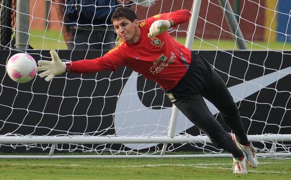 Brazilian goalkeeper Rafael Cabral takes