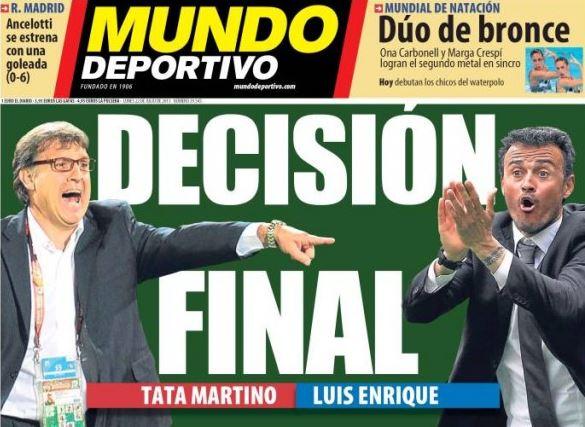 """La prima pagina del quotidiano spagnolo """"Mundo Deportivo"""""""