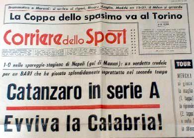 Il Corriere dello Sport celebra la promozione dei calabresi.