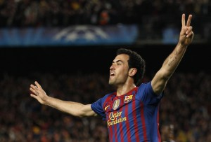 Barcelona's Busquets celebrates after scoring against Chelsea during their Champions League soccer semi-final in Barcelona
