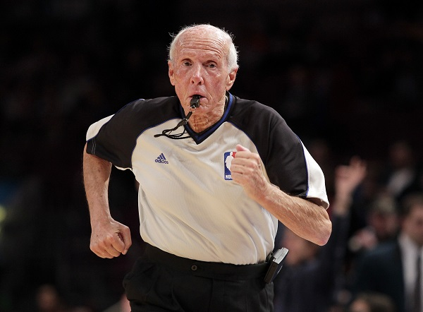 NBA official Dick Bavetta runs up the court at Madison Square Garden in New York