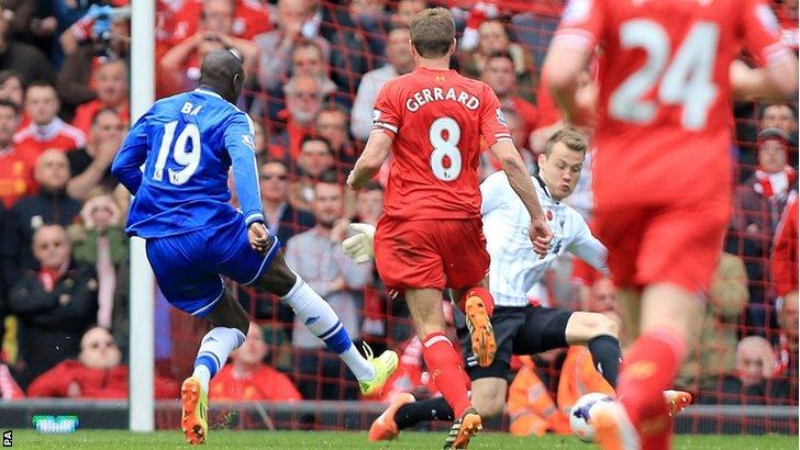 Il gol di Demba Ba che sfrutta lo scivolone di Gerrard.