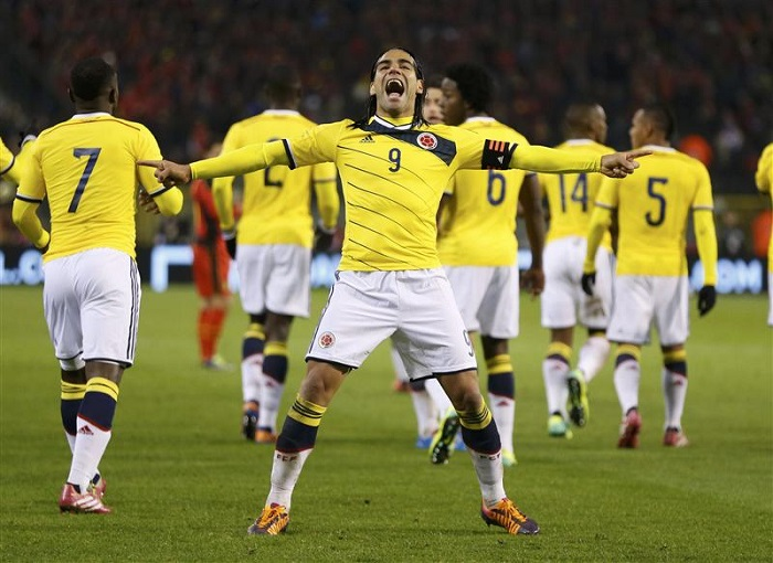 Colombia's Falcao celebrates his goal against Belgium during their international friendly soccer match at King Baudouin Stadium in Brussels