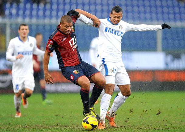 Genova, 19/01/2014 Serie A/Genoa-Inter Sebastien De Maio-Fredy Guarin