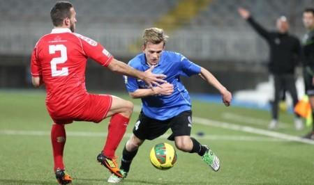 L'esterno destro dei piemontesi Lorenzo Dickmann (classe '96). 27 presenze e due gol per il giovane più promettente dei gaudenziani.
