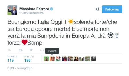 Il presidente doriano Massimo Ferrero, carica da par suo i suoi via Twitter.
