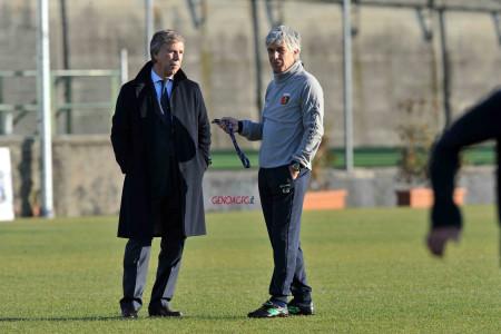 Nella foto il presidente del Genoa Enrico Preziosi con l'allenatore Gian Piero Gasperini