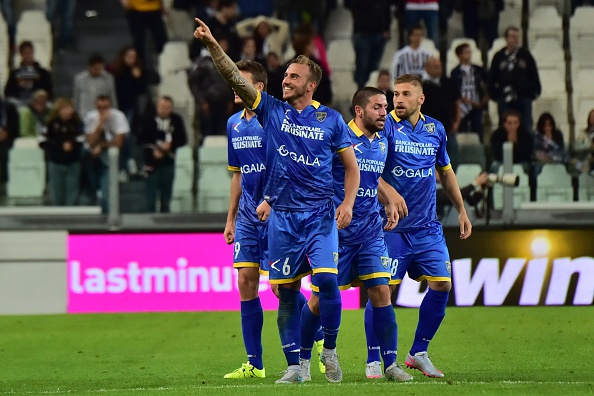"Frosinone's forward from Italy Leonardo Blanchard (2nd L ) celebrates after scoring a goal during the Serie A football match Juventus vs Frosinione at ""Juventus Stadium"" in Turin on September 23, 2015 . AFP PHOTO / GIUSEPPE CACACE (Photo credit should read GIUSEPPE CACACE/AFP/Getty Images)"