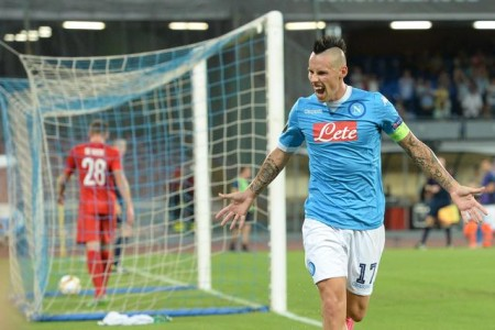 Napoli's Marek Hamsik jubilates after scoring the goal during the Uefa Europa League soccer match SSC Napoli vs Bruges (Club Brugge) at San Paolo stadium in Naples, Italy, 17 September 2015. ANSA/CIRO FUSCO