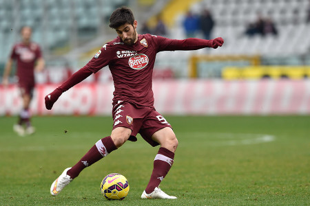 TURIN, ITALY - FEBRUARY 15:  Marco Benassi of Torino FC in action during the Serie A match between Torino FC and Cagliari Calcio at Stadio Olimpico di Torino on February 15, 2015 in Turin, Italy.  (Photo by Valerio Pennicino/Getty Images)