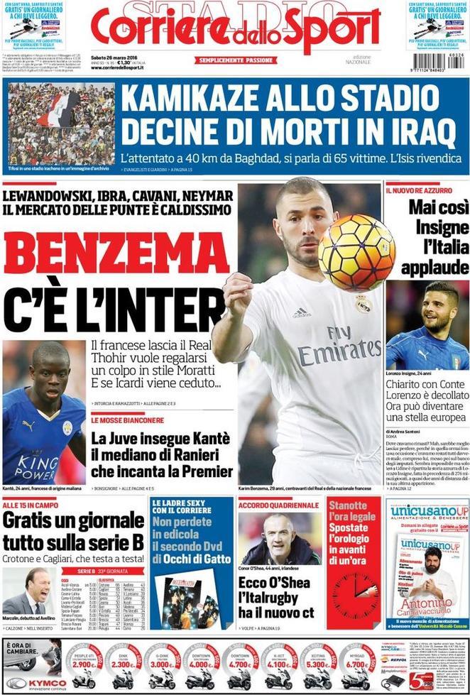 Rassegna stampa italiana: l'Inter pensa al colpo Benzema