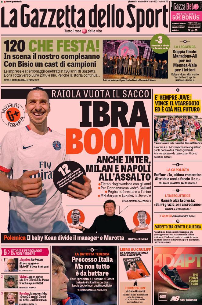 Rassegna stampa Italia: Ibra boom!   Contrataque