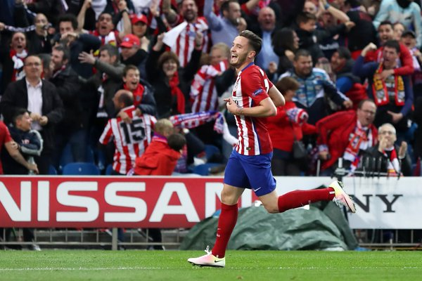 Saul esulta dopo la splendida rete dell'1-0 - FOTO: account Twitter Infosport+