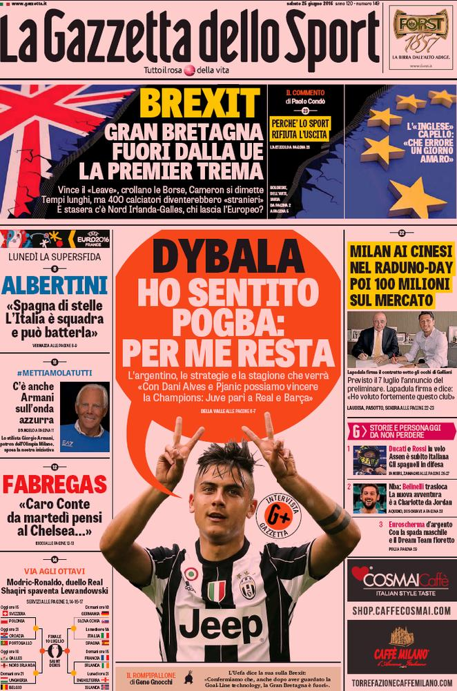 rassegna stampa italiana dybala trattiene pogba alla juventus contrataque. Black Bedroom Furniture Sets. Home Design Ideas