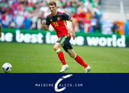 Thomas Meunier in azione con il Belgio