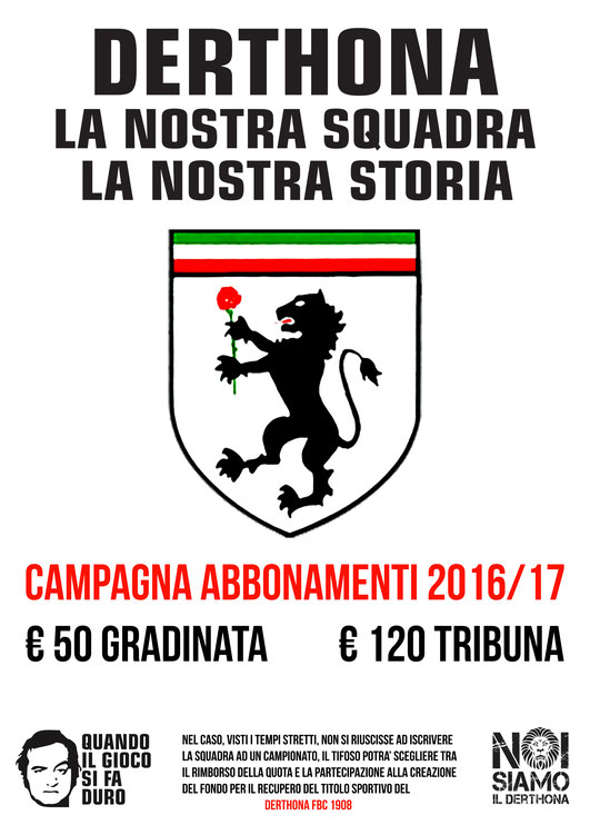 La locandina della campagna abbonamenti del Derthona - FOTO: nsderthona.org/