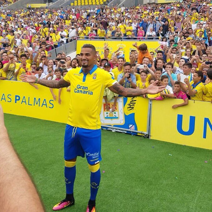 Kevin Prince Boateng, nuovo giocatore del Las Palmas. Fonte - Account Twitter @UDLP_Oficial