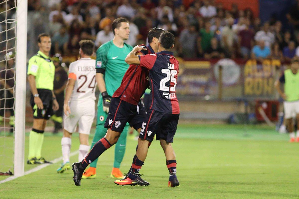 Il gol di Borriello in Cagliari-Roma - Fonte Twitter @CagliariCalcio
