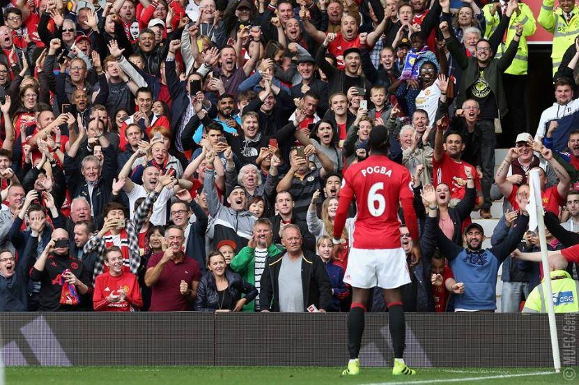 L'esultanza di Paul Pogba, al primo gol con la maglia dello United FOTO@manchesterunited