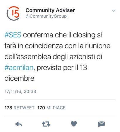 Milan: Sino-Europe, 13 dicembre closing