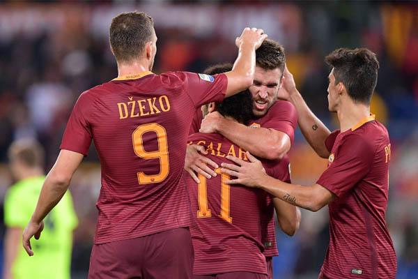 Edin Dzeko e Mohamed Salah, Juventus-Roma-Chievo - Serie A fonte: Roma AS