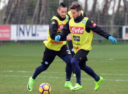 Hamsik e Mertens in allenamento prima di Napoli-Genoa, Serie A - Fonte: Napoli Twitter