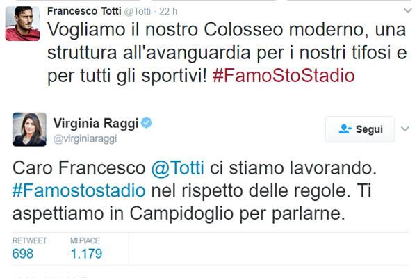 Francesco Totti sullo stadio di Roma e la risposta di Virginia Raggi
