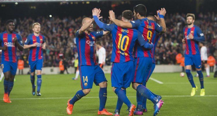 Messi Suarez Mascherano Barcellona-Valencia - Fonte: Twitter @FCBarcelona